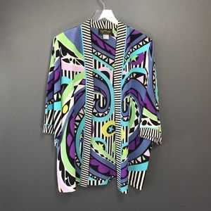 Bob Mackie Wearable Art Silk Kimono Duster Top